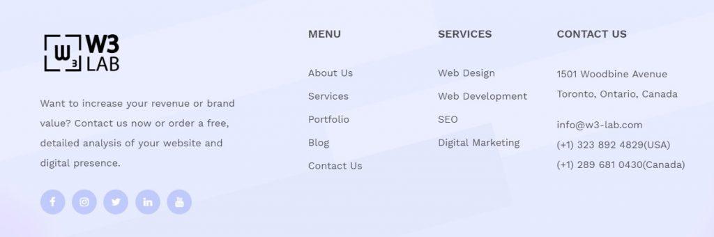 website footer info