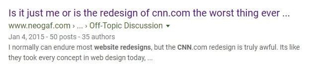 the web design change bad solution