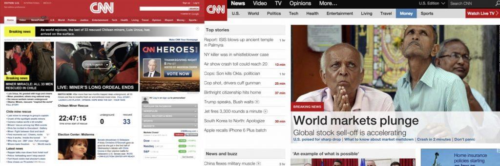 cnn`s old vs new website - bad ux change