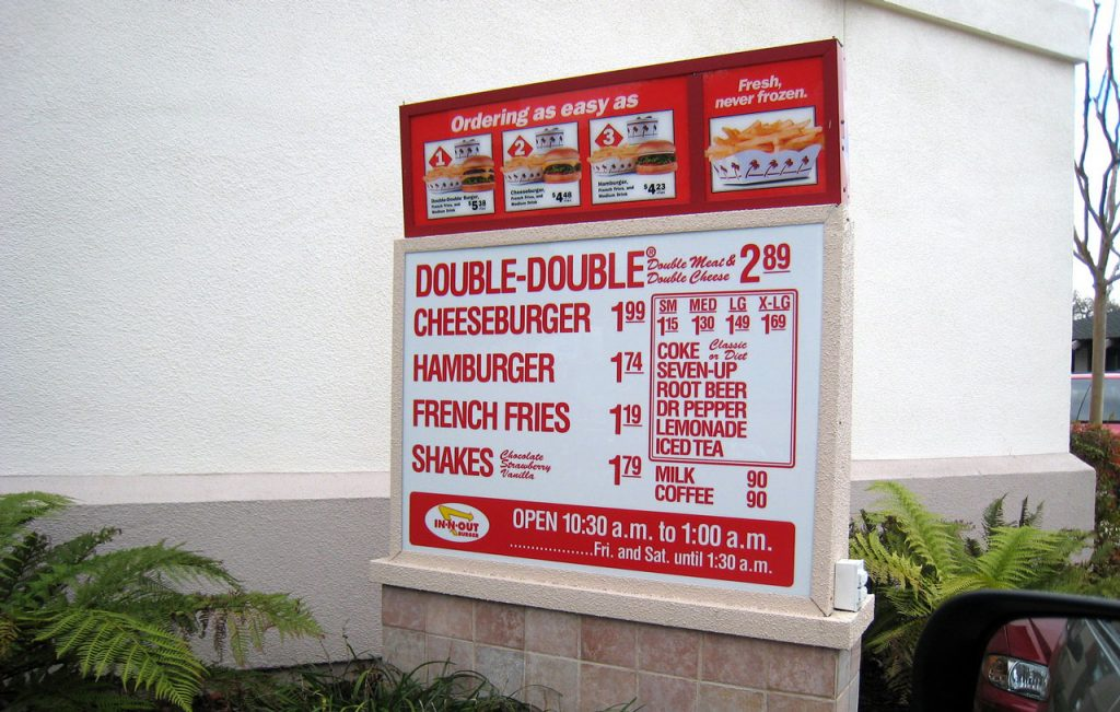 in n out menu