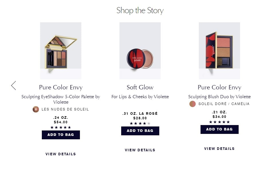 violette's products on the Estée Lauder website