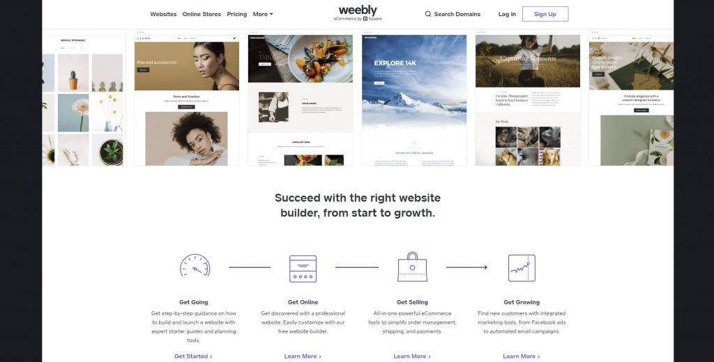 The Weebly homepage