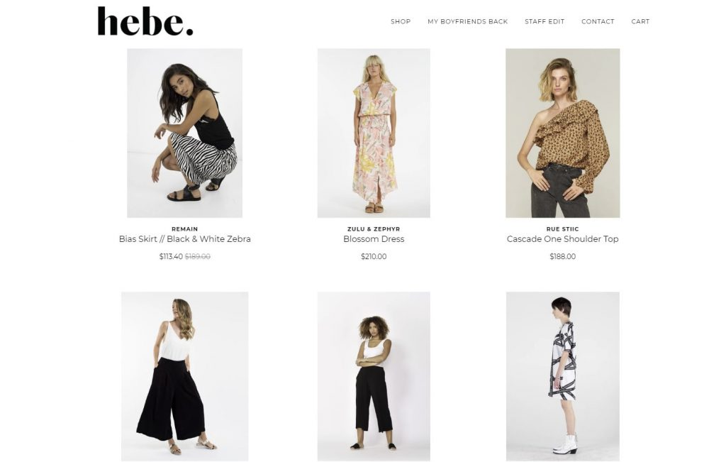 the hompegae of the hebe boutique