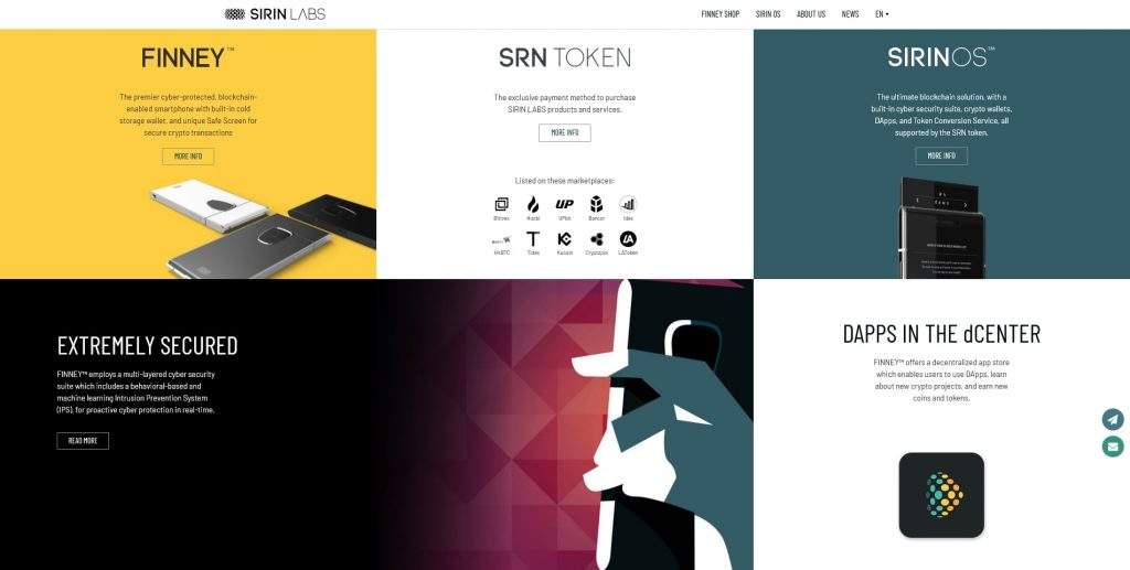 sirin labs homepage further colors
