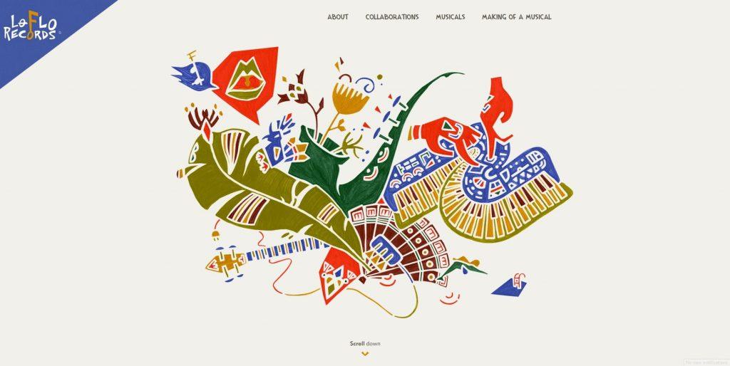 the lo-flo records homepage colors scheme