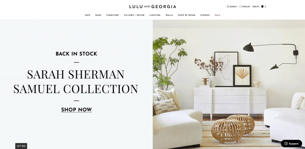 the lulu and georgia homepage colors