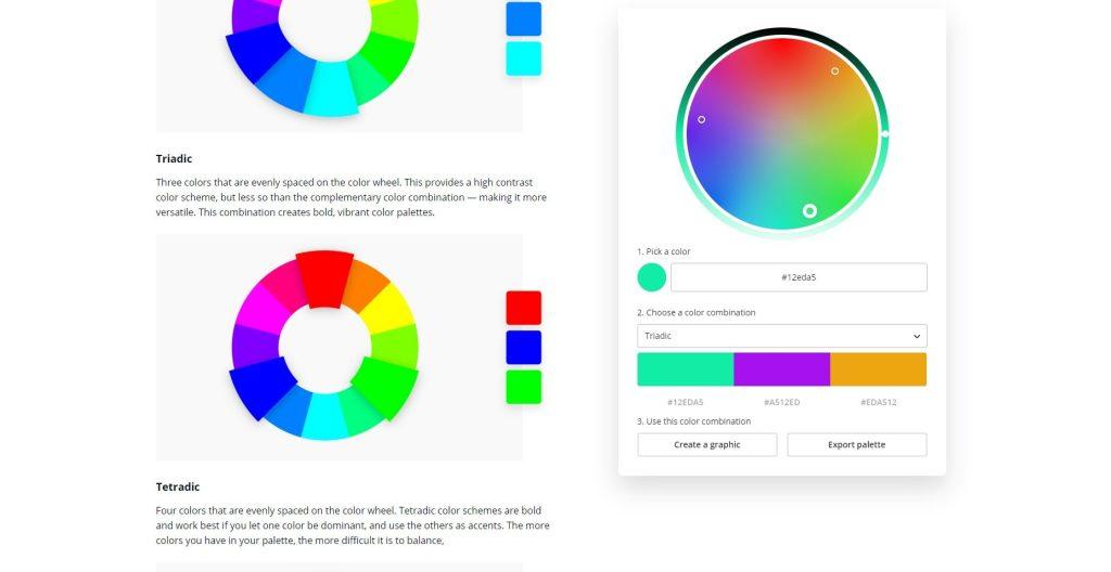 canva colors wheel