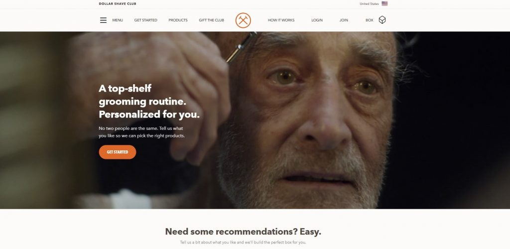 The Dollar Shave Club homepage design