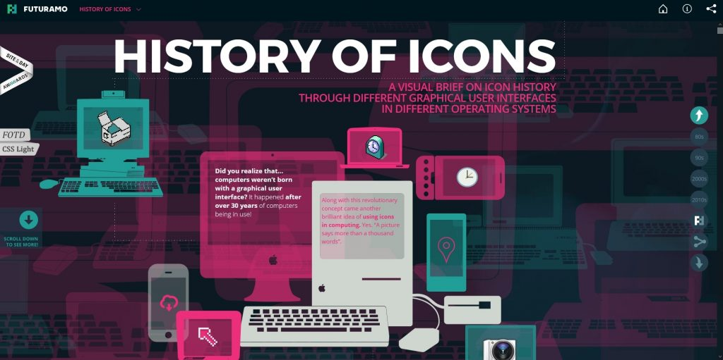 history of icons cool website