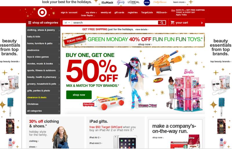 target old website design