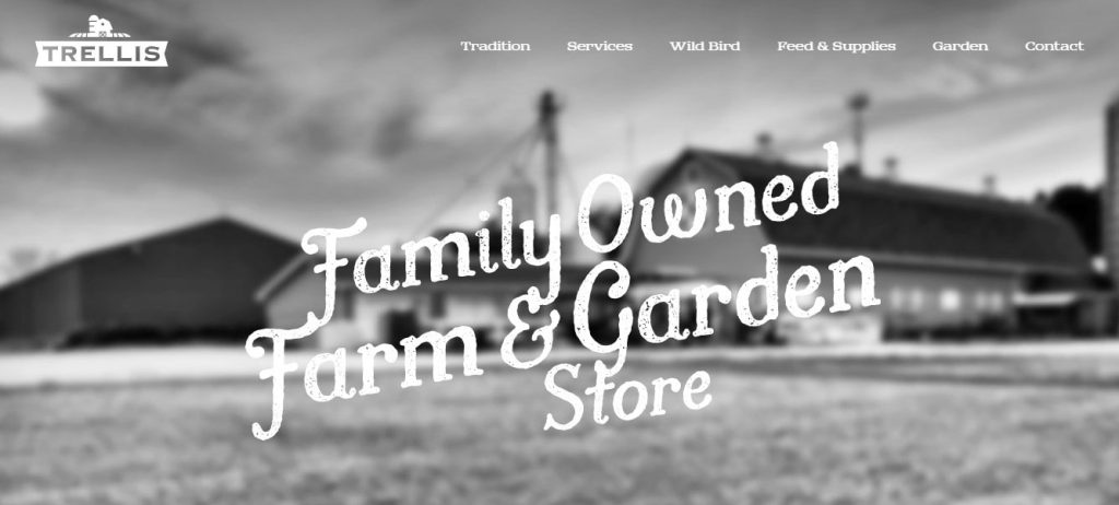 the homepage of trellis - black and white design