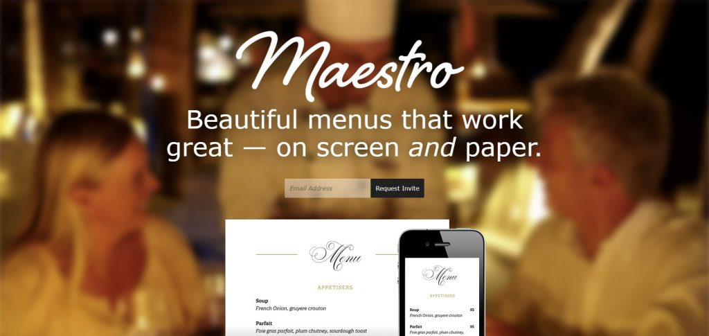 the homepage of menu maestro - blurs and shadows
