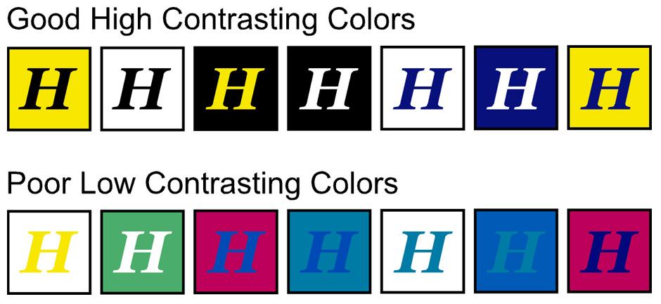 good high contrast colors vs poor contrast colors