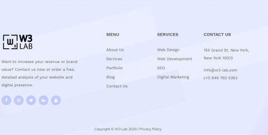 w3-lab footer