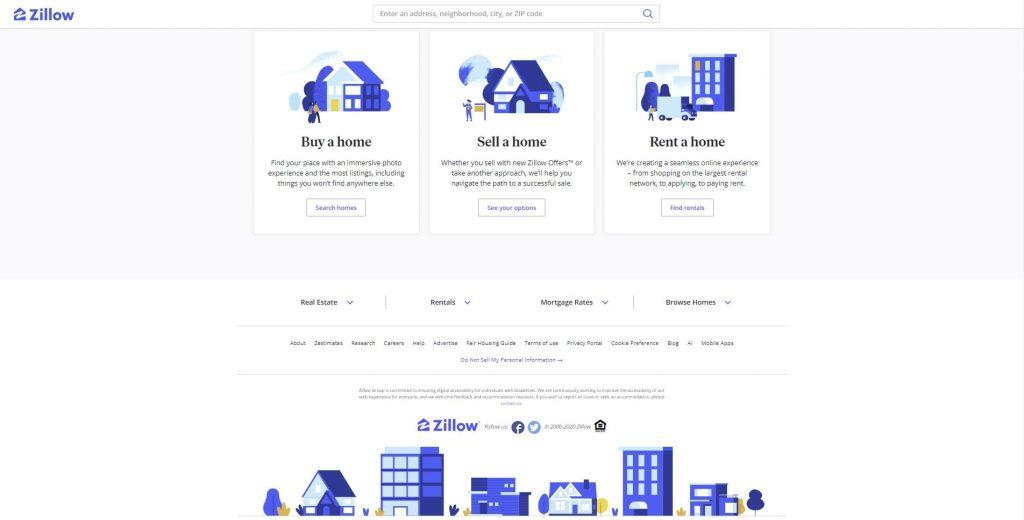 scrolling down the award winning website - award-winning website zillow