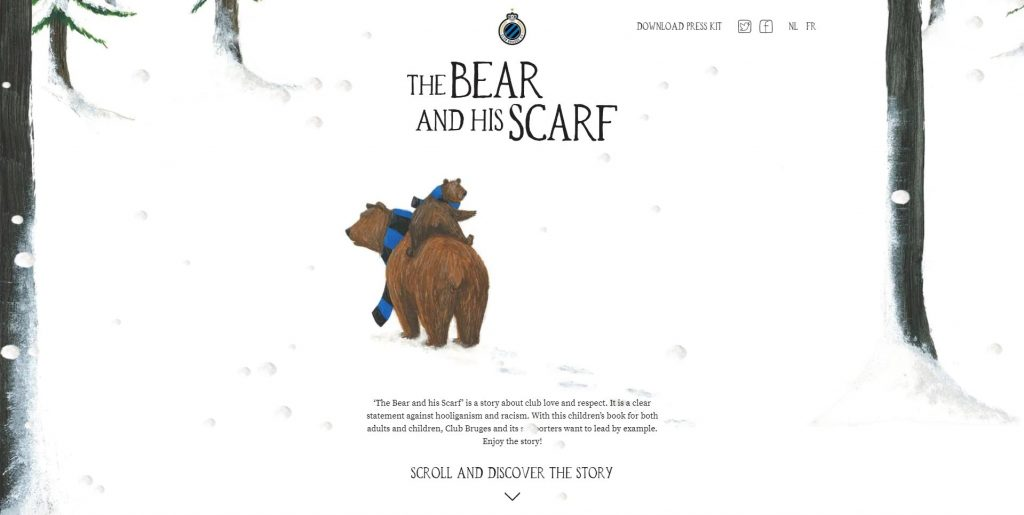 very creative bear and his scarf website design