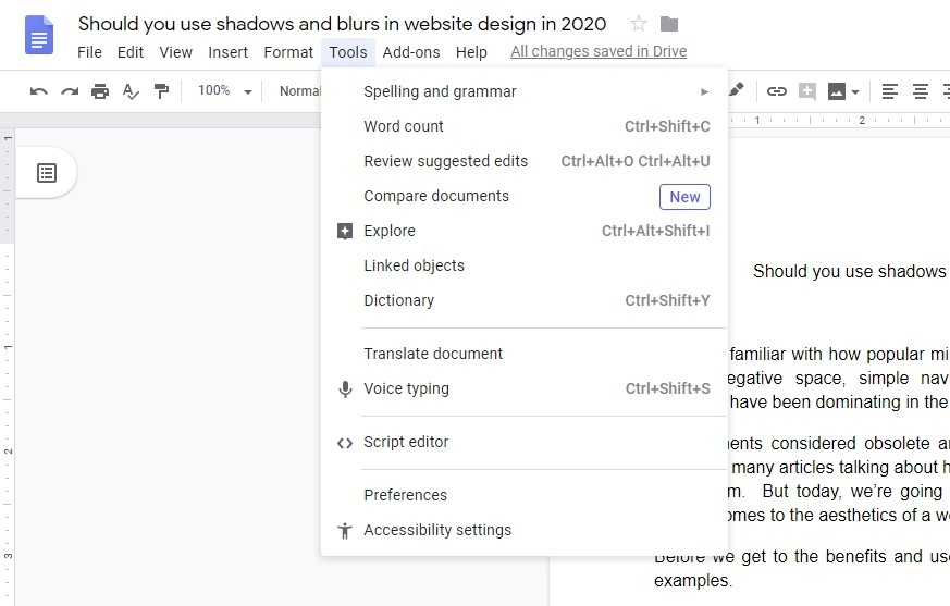 should you use shadows and blurs in web design in 2020