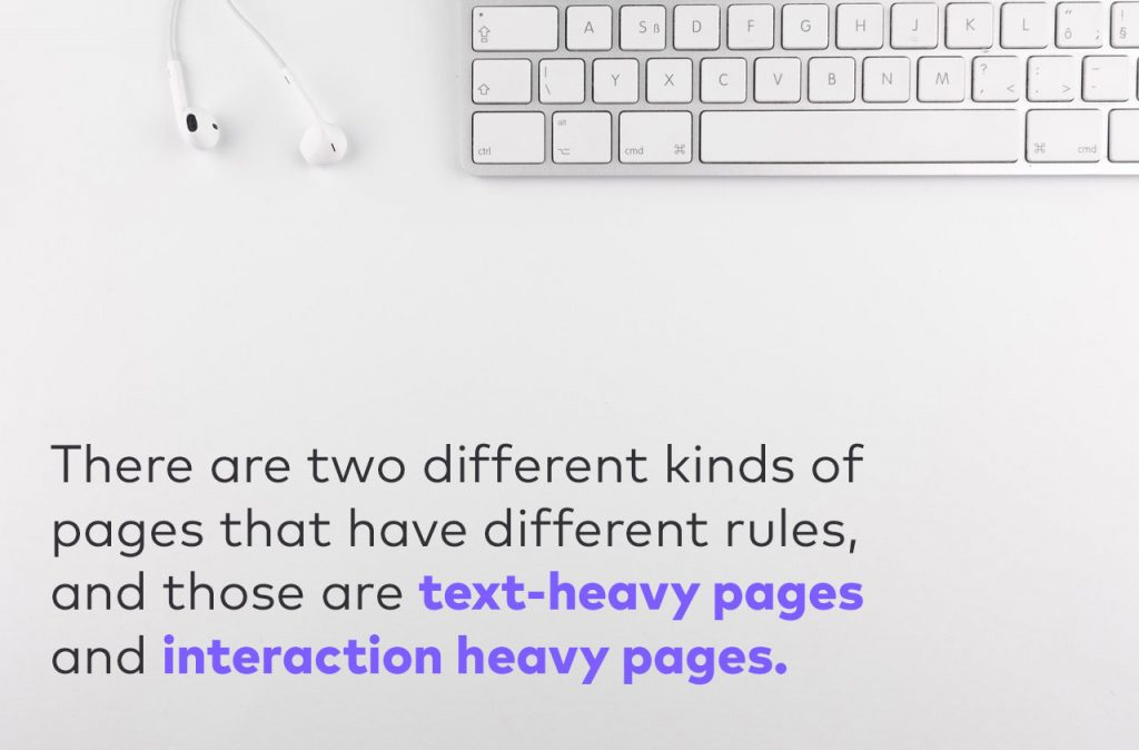text heavy pages