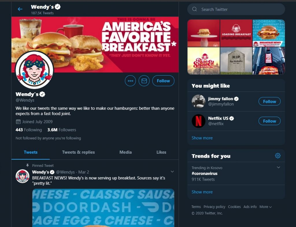The Wendy's Twitter profile