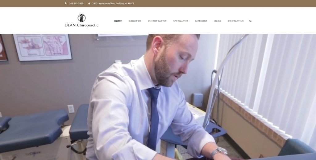 The homepage of DEAN Chiropractic