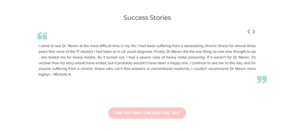 happy patient testimonial example - private clinic testimonial example