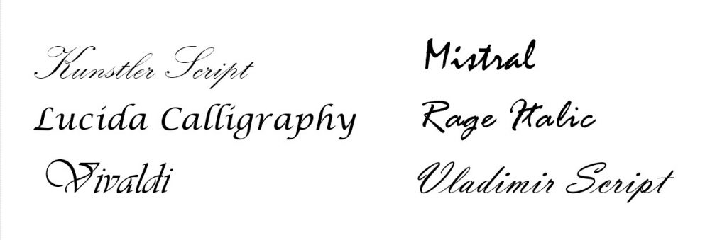 some script fonts that come with computers - script fonts