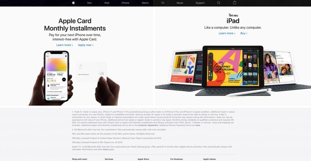 the bottom of the Apple website homepage - recency effect - serial position effect on apple website
