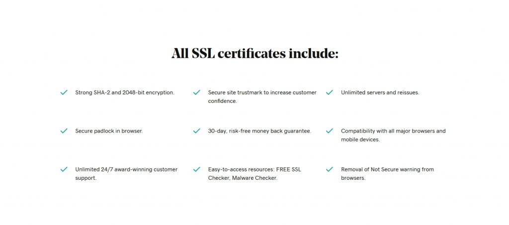 security certificates of godaddy website