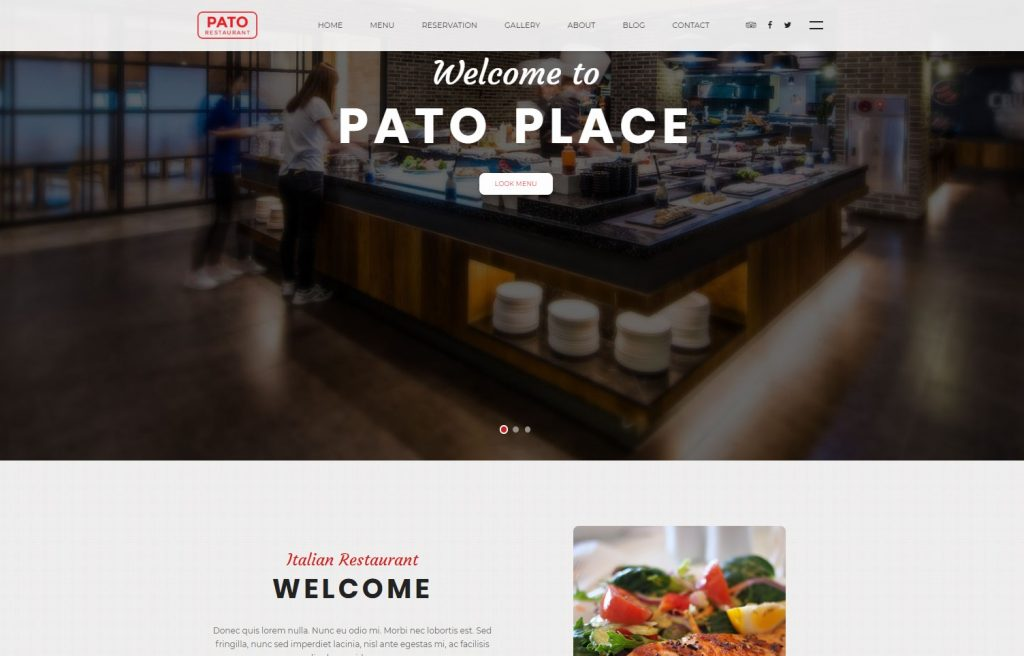 a restaurant website template