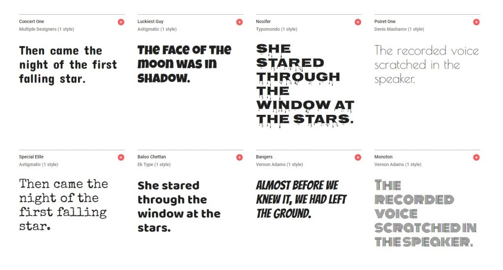 display fonts - display fonts on google font website