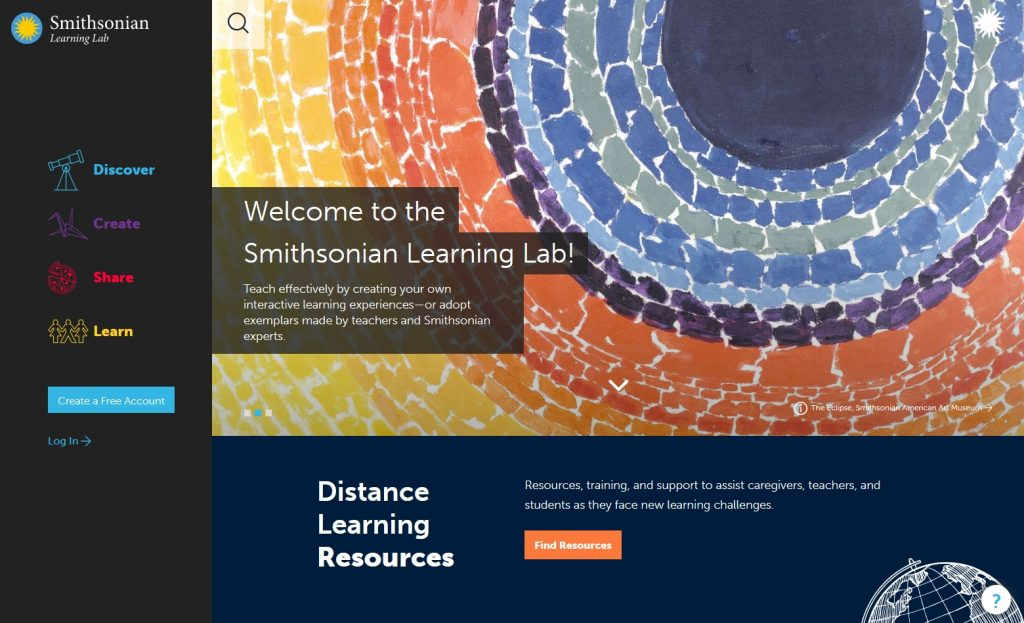 The Smithsonian Learning Lab website - education website example