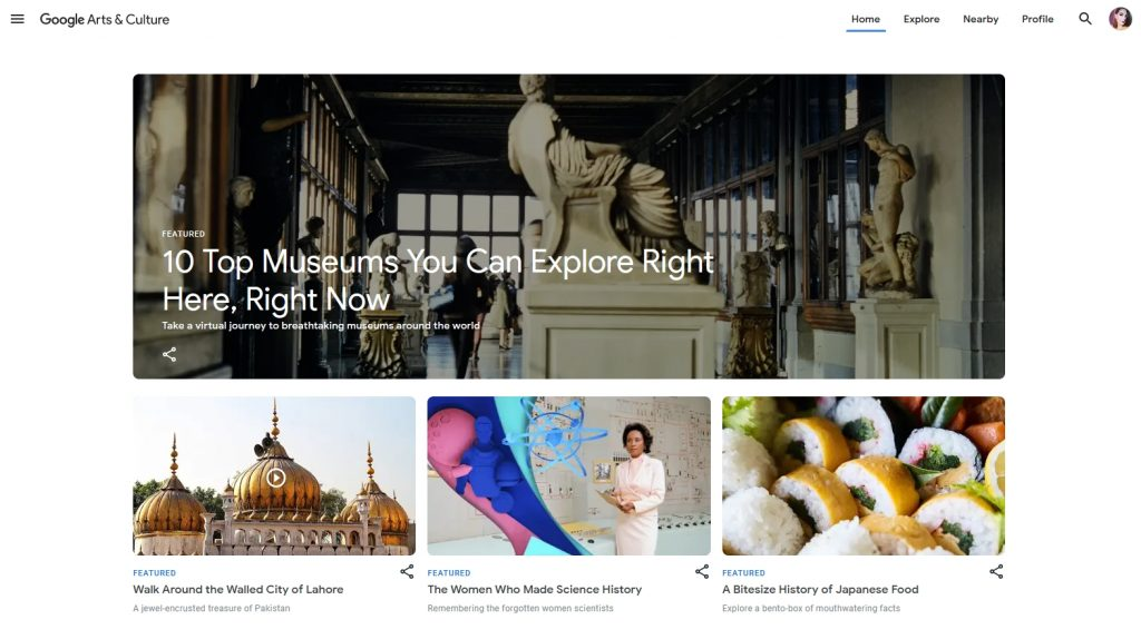 google arts and culture website