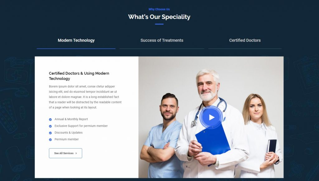 why choose us on clicin website - why choose us example for hospital website - private clinic website why choose use design
