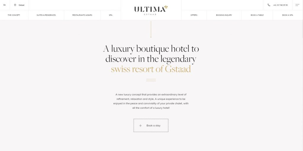 the homepage of gstaad - luxury hotel website design