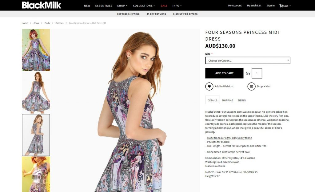 blackmilk website product page - perfectly designed product page - product page