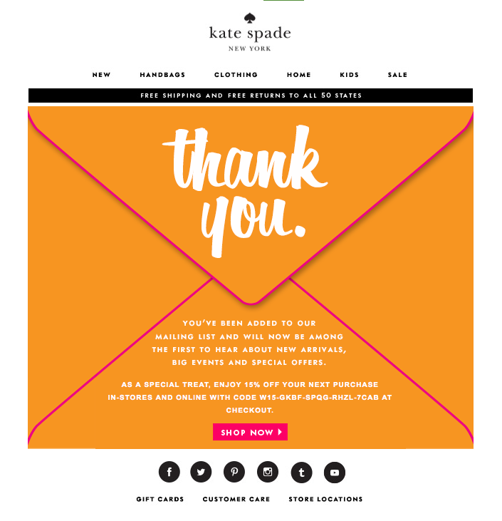 kate spade welcome email - welcome email example