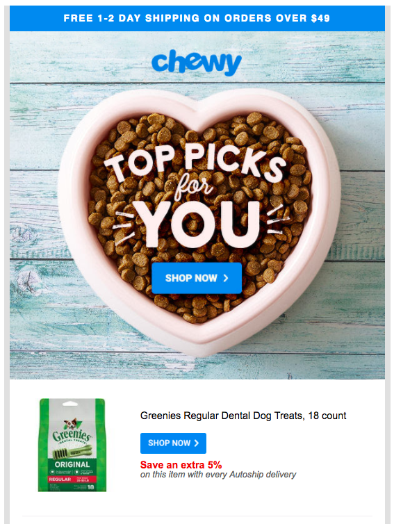 Here's a great email marketing example from Chewy - great email marketing message - great mail for email marketing