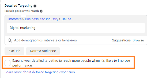 facebook ads audience expand option - facebook audience expand - facebook ads audience
