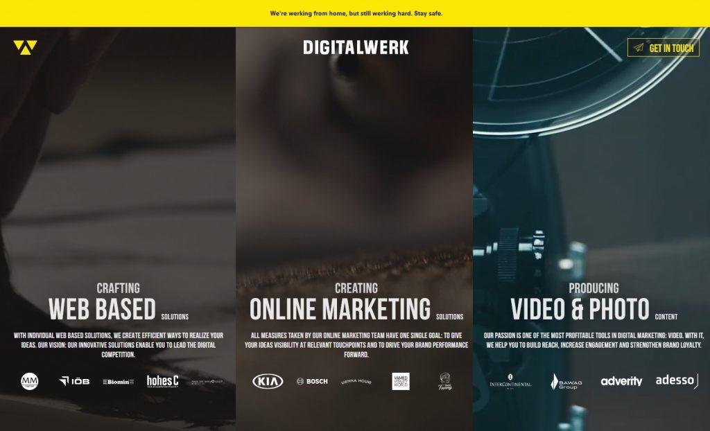 digital werk website homepage