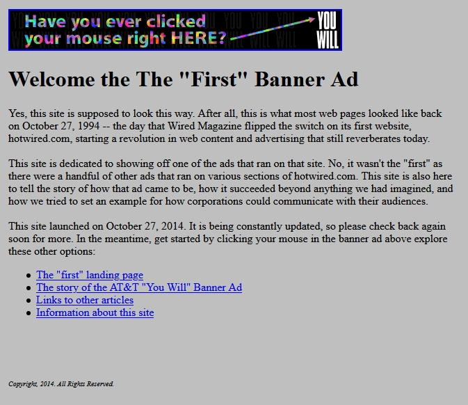 first clickable banner ad - digital marketing evolution