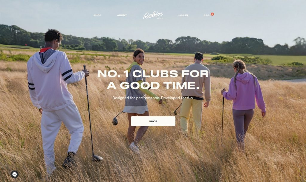 the homepage of robin golf