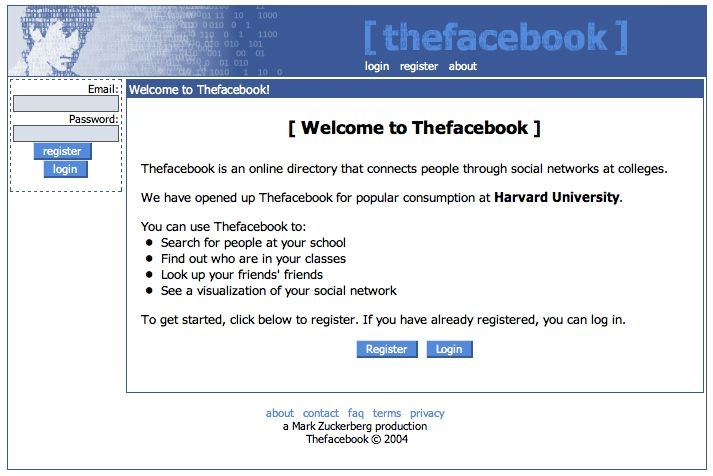 old facebook layout - thefacebook homepage