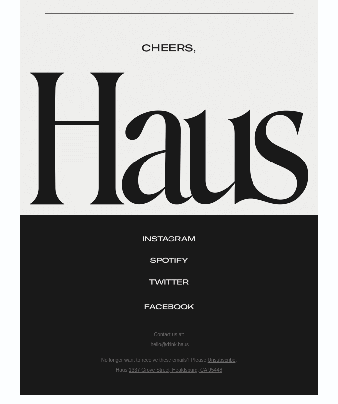 haus email footer design