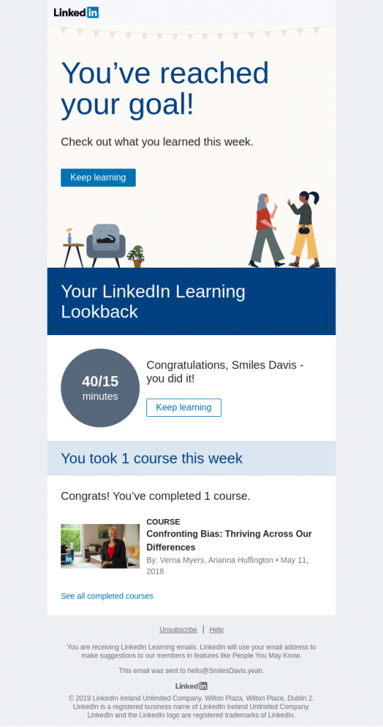 linkedin personalization email example - personalization email design 2020