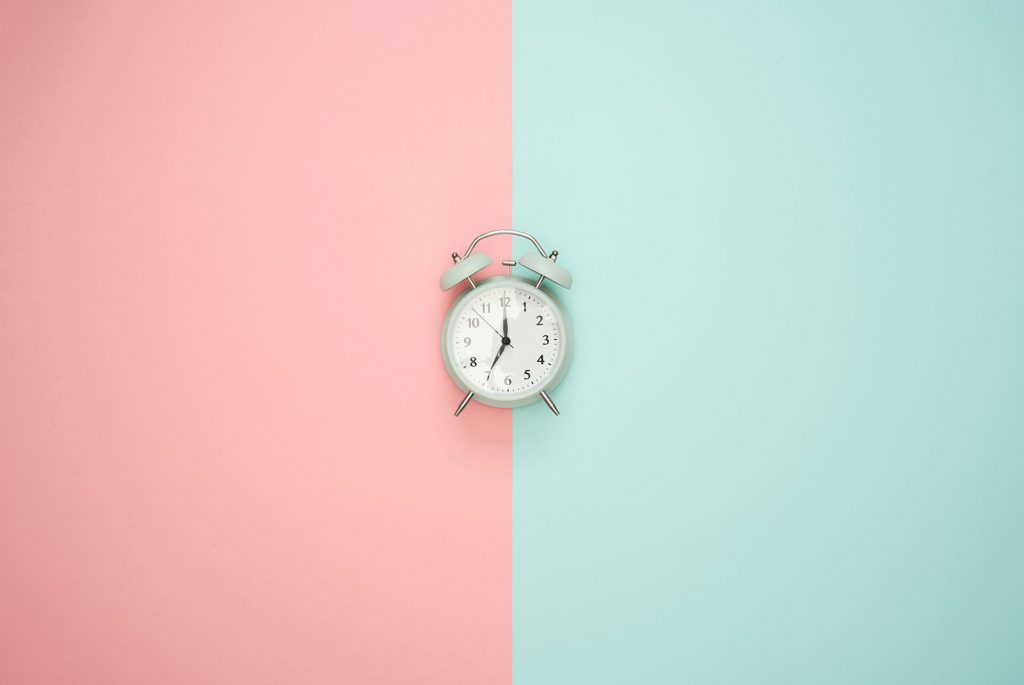 pink and blue - blue clock - time - when is the best time
