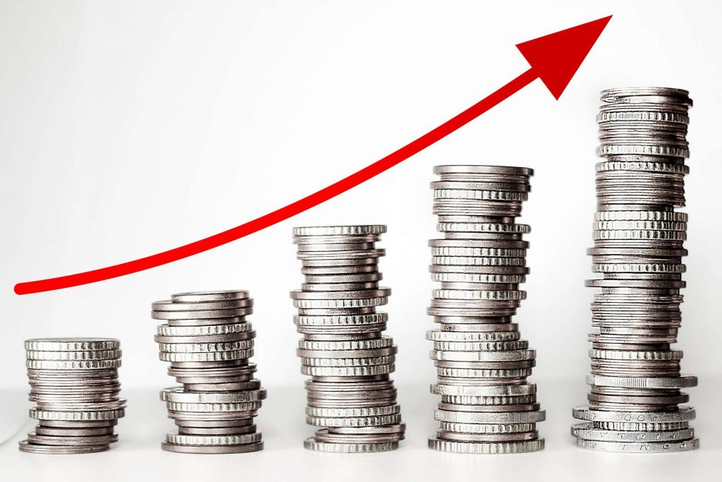 raise bids - ascending graph - arrow over coins - arrow pointing up